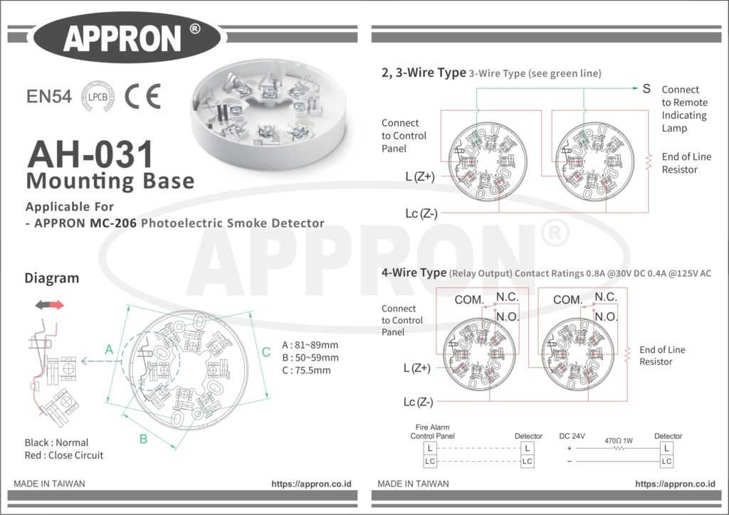 AH-031 APPRON Fire Alarm Detector Mounting Base