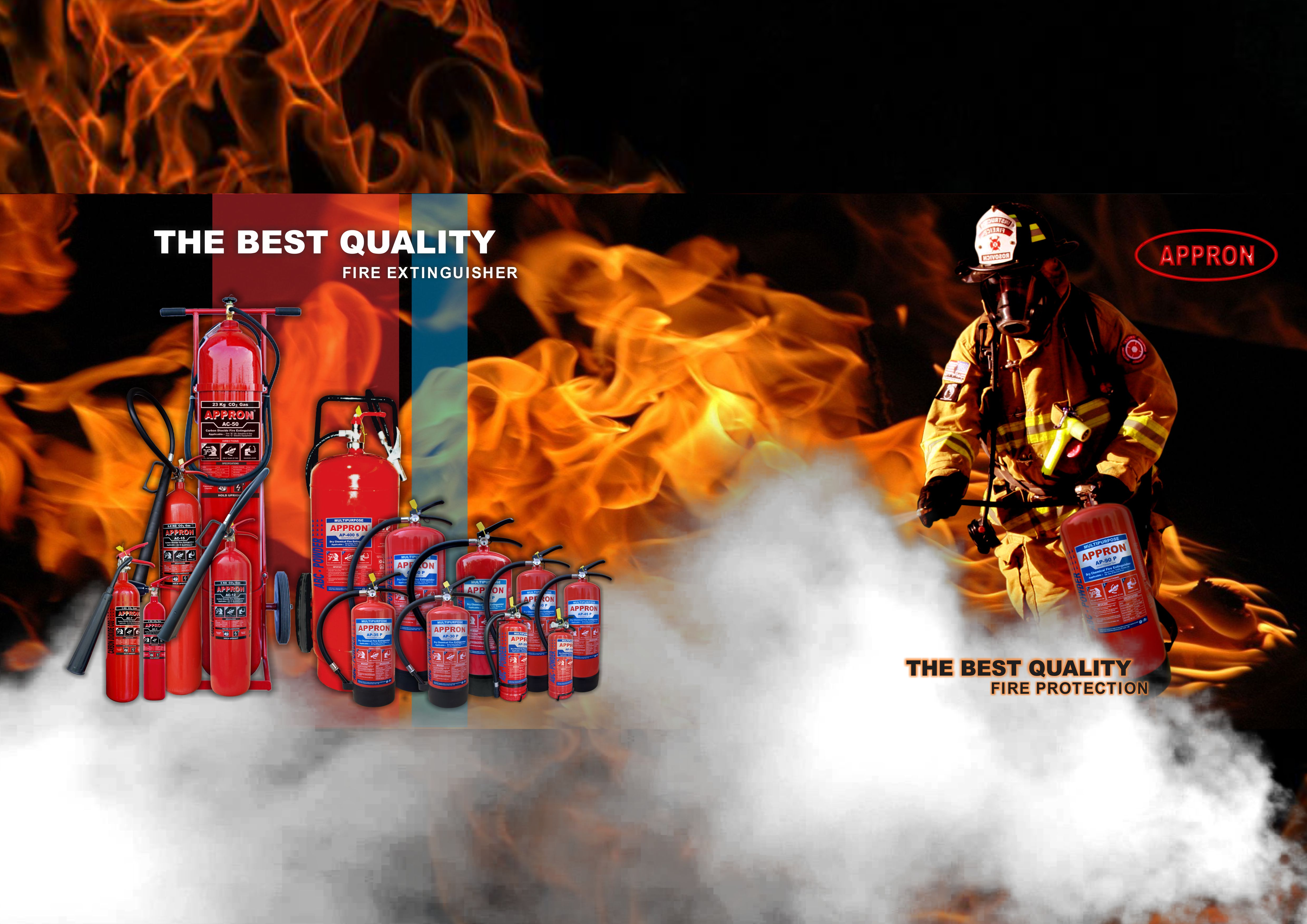 banner appron fire extinguisher